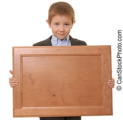 Sign Boy 2 - Young boy wearing suit holding blank wooden...
