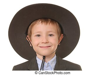 The Western Kid 5 - Young boy in suit wearing a western...