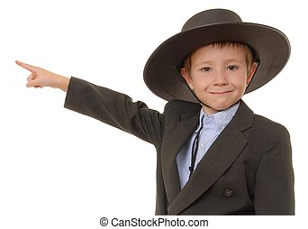 The Western Kid 9 - Young boy in suit wearing a western...
