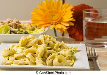 Tortellini - fresh italian pasta tortellini with garlic and...