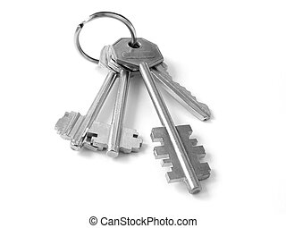 bunch of keys 4 - bunch of keys from door locks on the white...