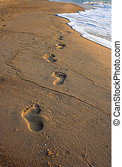 Footprints in the sand at sunrise, Gulf of Thailand