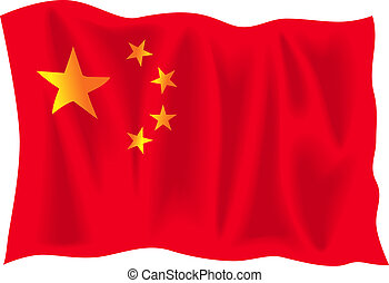 China - Waving flag of China isolated on white background