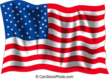 USA flag - USA wavy flag isolated on white background