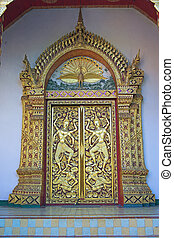Phrathat Doi Suthep, door detail, outskirts of Chiang Mai...