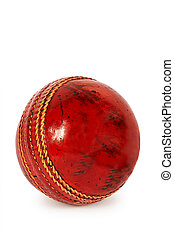 ball for cricket - Red ball for cricket on a white...