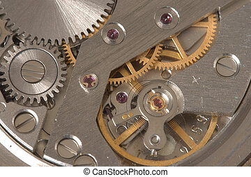 Watch mechanism close up - Old watch mechanism close up