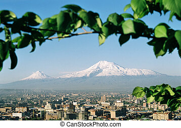 Mountain Ararat, - Mountain Ararat and city Yerevan,Armenia...