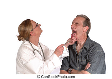 physical exam, docto - Male patient undergoing physical exam...