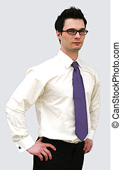 Confident business man in a white shirt and purple tie