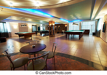 Billiard room and cafe in modern hotel