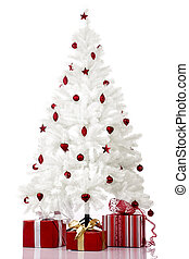 Christmas Tree - Christmas white tree and gifts over a white...