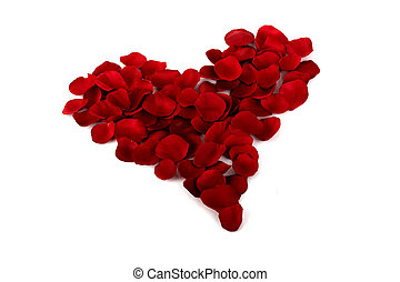 Rose petals Heart - Heart made with red rose petals