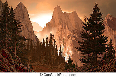 Mountain Canyon Rockies - Image from an original 15x24...