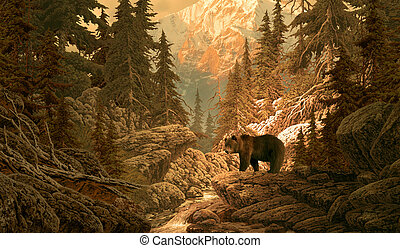 Bear in the Rockies - Image from an original 14x24 painting...