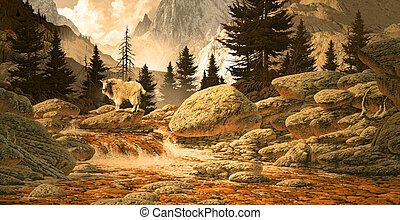 Mountain Goat - Image from an original 18x35 painting of a...