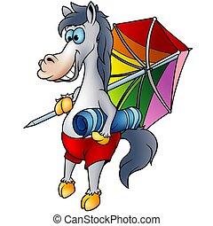 Horse on the beach  - Highly detailed cartoon animal