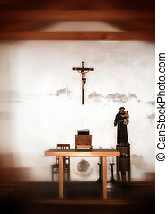 Old chapel - Interior of small old chapel - soft focus photo