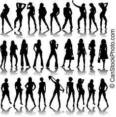 sexy ladies shadow - A collection of sexy ladies illustrated...