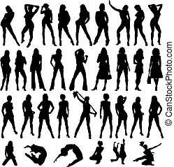 sexy ladies - a collection of sexy women drawn in black...