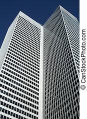 High-rise office building resambling an open book.