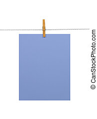 Purple-blue paper sheet on a clothes line (+2 clipping...