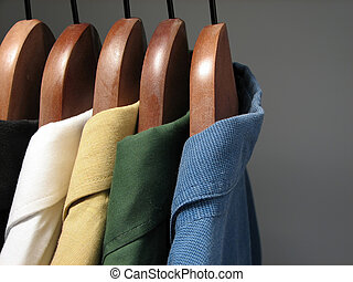 Colorful shirts in a closet