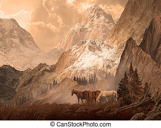 Wild Horses - Image from an original 18x24 painting of wild...