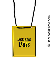 Backstage pass on white background.