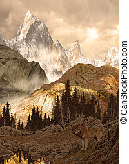 Wolf in the Rockies - Image from an original 23x32 painting...