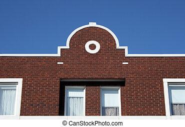 Facade of a brick house