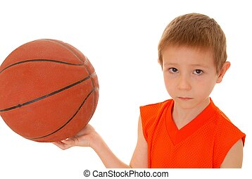 Basketball Boy - Isolated on white Young boy holding a...
