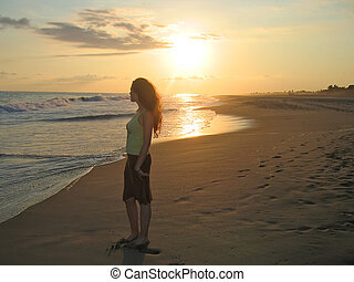 A woman standing on a tropical beach during the sunset,...
