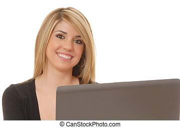 Helpdesk Girl 214 - Lovely blond woman working at help desk