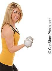 Fitness Girl 73 - Lovely young blond lady lifting a dumbbell