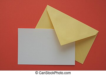 Greeting card - Empty greeting card and yellow envelope on...
