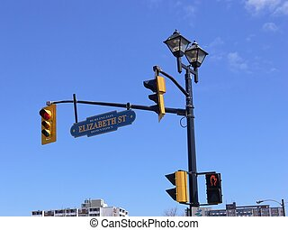 Traffic light 60815 - A two way traffic light and on top a...