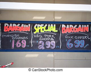 Bargains Board - picture of a bargains blackboard with the...