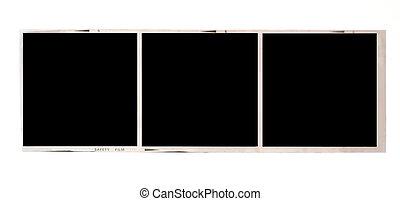 Medium format film - Three frames of 6x6 medium format black...