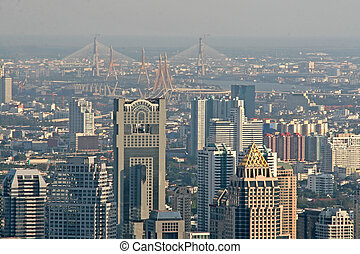 Bangkok Skyline - View over Bangkok looking towards the Chao...