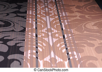 Wallpaper with flower pink and black vertical lines. You can...