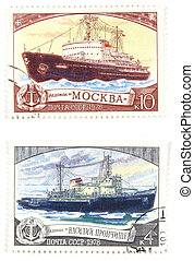 Old post stamps with ships