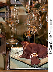 Wine Glasses  - Wine glasses on the table with brown napkin