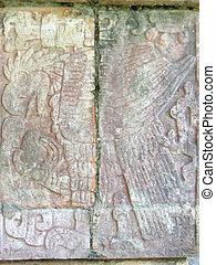 A maya temple stone sculpture, Chichen Itza, Mexico