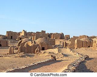 Bagawat, egyptisk, necropolis, oas, Kharga, Lybian, öken,...