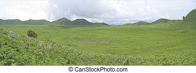 Large green valley with nice hills, Cameroon, Africa,...