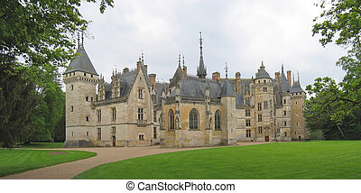 Large vista of a french castle, Meilland castle, France,...