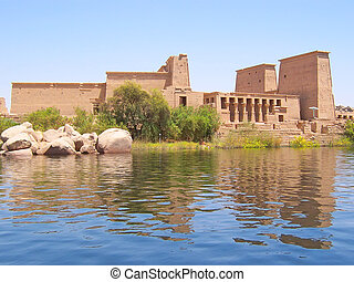 Philae egyptian temple on an island on the nil, Assouan,...