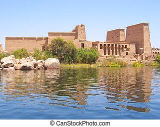 Philae egyptian temple on an island on the nil, Assouan,...