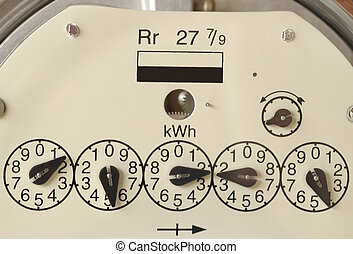 Electricity Meter - Close-up of the dials on an electricity...